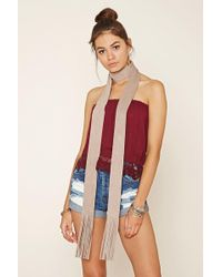 Forever 21 - Fringe Faux Suede Scarf - Lyst