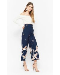 Forever 21 - Lace-up Bird Print Ankle Trousers - Lyst