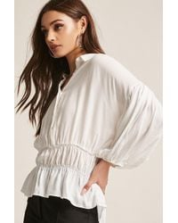 Forever 21 - Textured Balloon-sleeve Top - Lyst