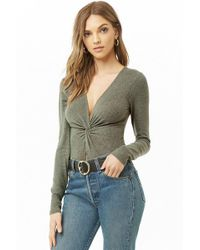 Forever 21 - Brushed Twisted Bodysuit - Lyst