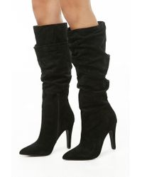 07a10bce894 Forever 21 - Faux Suede Slouchy Knee-high Boots - Lyst