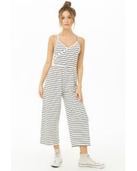 3c26050955d7 Lyst - Forever 21 Strapless Striped Jumpsuit in Green