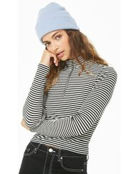 Forever 21 - Striped Mock Neck Top - Lyst
