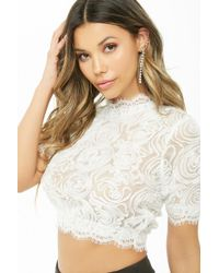 Forever 21 - Sheer Mesh & Lace Crop Top , White - Lyst