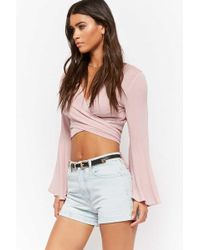 2a2267fc0 Forever 21 High-waisted Denim Shorts in Blue - Lyst