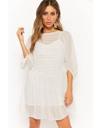 Forever 21 - Oh My Love Sheer Striped Dress - Lyst