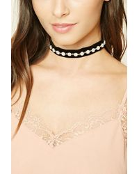 Forever 21 - Women's Faux Pearl Studded Choker Necklace - Lyst