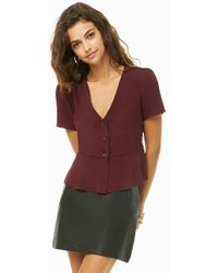 Forever 21 - Flounce Button-front Top - Lyst