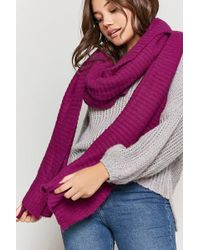 FOREVER21 - Ribbed Knit Oblong Scarf - Lyst