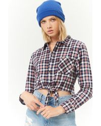 Forever 21 - Tie-front Plaid Flannel Shirt - Lyst