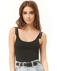 Forever 21 - Ribbed Buckle-strap Bodysuit - Lyst