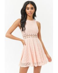 Forever 21 - Lace Fit & Flare Dress - Lyst