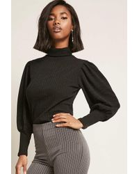 Forever 21 - Ribbed Balloon-sleeve Top - Lyst