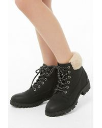 Forever 21 - Madden Girl Faux Shearling-trim Lace-up Boots - Lyst
