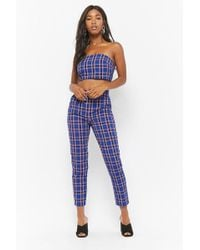 Forever 21 - Plaid Tube Crop Top & Pants Set - Lyst