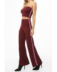 e59f52108fc92d Forever 21 - Ribbed Striped-side Wide-leg Pants - Lyst