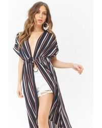 Forever 21 - Striped Crepe Duster Jacket - Lyst