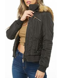 Forever 21 - Quilted Faux Fur Trim Padded Jacket - Lyst