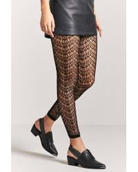 Forever 21 - Footless Geo Cutout Tights - Lyst