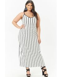 a532e63c095 Forever 21 - Women s Plus Size Strappy-back Striped Maxi Dress - Lyst