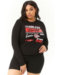 50e1e48e6ff Forever 21 - Plus Size Fearless Racing Graphic Tee - Lyst