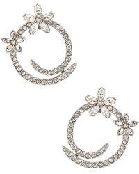 Oscar de la Renta - Pave Flower Crystal Hoop Earrings - Lyst
