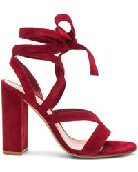 Gianvito Rossi - Suede Janis High Sandals - Lyst
