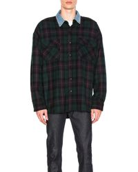 Fear Of God - Denim Collared Oversized Flannel In Green Plaid - Lyst