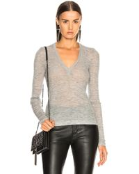T By Alexander Wang - Wooly Rib Deep V Neck Top - Lyst