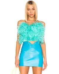 Attico - Ostrich Feather Cropped Bustier - Lyst