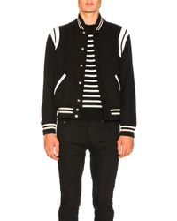 Saint Laurent - Teddy Leather-Trimmed Wool Varsity Jacket  - Lyst
