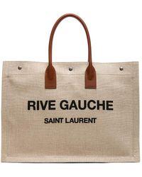 Saint Laurent - Large Canvas & Leather Rive Gauche Noe Tote - Lyst