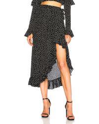 53c4b7b72 Lyst - Boohoo Petite Lucy Ruched Wrap Midi Skirt in Black