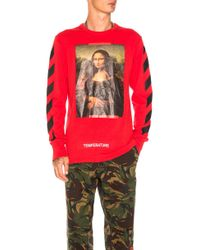 Off-White c/o Virgil Abloh | Diagonal Monalisa Long Sleeve Tee In Red | Lyst