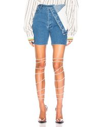 Y. Project - Draped Waist Denim Shorts - Lyst
