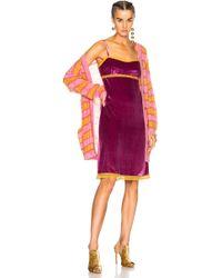 Alberta Ferretti - Lace Trim Velvet Slip Dress - Lyst