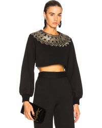 Sally Lapointe - Metallic Coil Embroidered Cropped Sweatshirt - Lyst