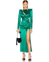 Alessandra Rich - Slashed Front Silk Satin Gown - Lyst