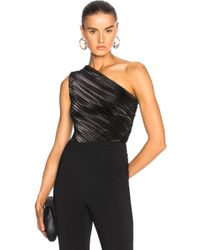 Mugler - Stretch Lame One Shoulder Bodysuit In Black - Lyst