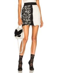 Fausto Puglisi - Lace Colorblock Skirt In Black & White - Lyst