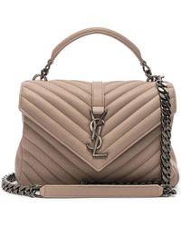 Saint Laurent Medium College Bag In Royal Blue Matelassé Leather in ... 68750c7aacb9e