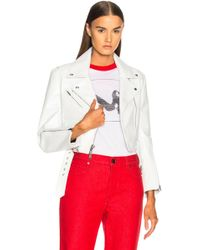 CALVIN KLEIN 205W39NYC - Shiny Plonge Leather Cropped Jacket - Lyst