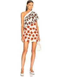 Fausto Puglisi - One Shoulder Floral Dress In White, Red & Black - Lyst