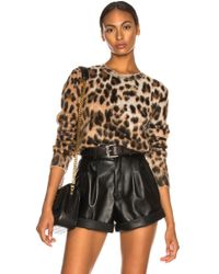 Saint Laurent - Leopard Print Mohair Jumper - Lyst