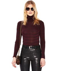 Saint Laurent - Striped Turtleneck Fitted Sweater - Lyst