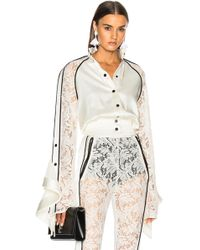 David Koma - Lace Sleeve Ruffle Jacket In White & Black - Lyst