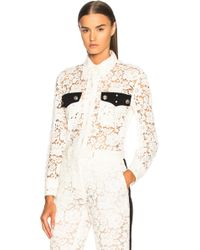CALVIN KLEIN 205W39NYC - Cotton Viscose Lace Jacket - Lyst