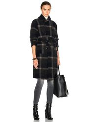 Engineered Garments - Wool Knit Plaid Robe In Dark Navy & Grey - Lyst