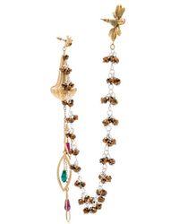 Rodarte | Drop Earring With Flower Stud In Brass Nickel | Lyst