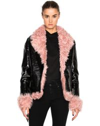 Sandy Liang | Bowery Coat With Lamb Fur | Lyst